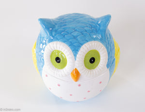 VINTAGE COLORFUL PASTELS CERAMIC OWL COOKIE JAR | ADORABLE | MINT