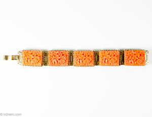 VINTAGE FAUX CORAL CARVED CELLULOID FLOWER STATIONS GOLD TONE BRACELET/ 1950s-1960s