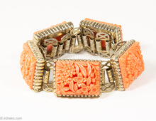 Load image into Gallery viewer, VINTAGE FAUX CORAL CARVED CELLULOID FLOWER STATIONS GOLD TONE BRACELET/ 1950s-1960s
