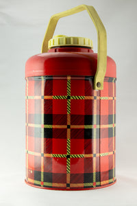 VINTAGE PLAID STANDARD CAN CORPORATION 1/2 GALLON INSULATED GLASS ALUMINUM JUG ORIGINAL WITH CAP