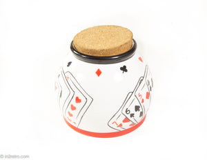 VINTAGE POKER MONEY JAR WITH CORK TOPPER BY NANTUCKET HOME ACE OF SPADES
