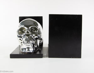 BRIGHT SHINY CHROME SKULL BOOKENDS PERFECT FOR HALLOWEEN!