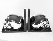 Load image into Gallery viewer, BRIGHT SHINY CHROME SKULL BOOKENDS PERFECT FOR HALLOWEEN!