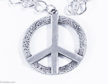 Load image into Gallery viewer, VINTAGE SWANK SILVERTONE PEACE SIGN METAL CHARM/MEDALLION ON CHAIN NECKLACE