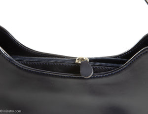 "VINTAGE PRE-LOVED ""TIFFANY & FRED"" DARK BLUE LEATHER AND PATENT ACCENTS HANDBAG - MADE IN FRANCE"