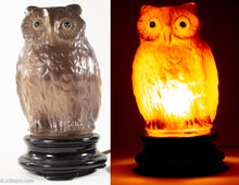 Load image into Gallery viewer, EXTREMELY RARE CONSOLIDATED/PHOENIX FIGURAL GLASS OWL LAMP WITH ORIGINAL BLACK GLASS BASE