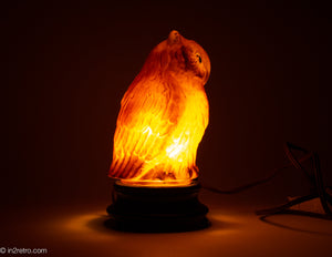 EXTREMELY RARE CONSOLIDATED/PHOENIX FIGURAL GLASS OWL LAMP WITH ORIGINAL BLACK GLASS BASE