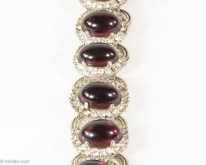 VINTAGE AMETHYST GLASS CABOCHONS AND RHINESTONES SILVER TONE LINKS BRACELET
