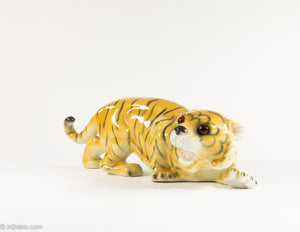 RARE VINTAGE PORCELAIN APEL CROUCHING TIGER STATUE FIGURINE MADE IN WEST GERMANY