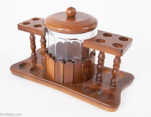 Load image into Gallery viewer, ORIGINAL VINTAGE WALNUT WOOD 8 COLLECTABLE PIPE DISPLAY STAND WITH WOLVERINE GLASS HUMIDOR JAR