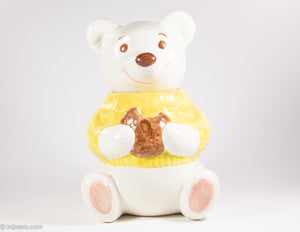 "VINTAGE ""METLOX"" POPPYTRAIL SMILING WHITE TEDDY BEAR COOKIE JAR"