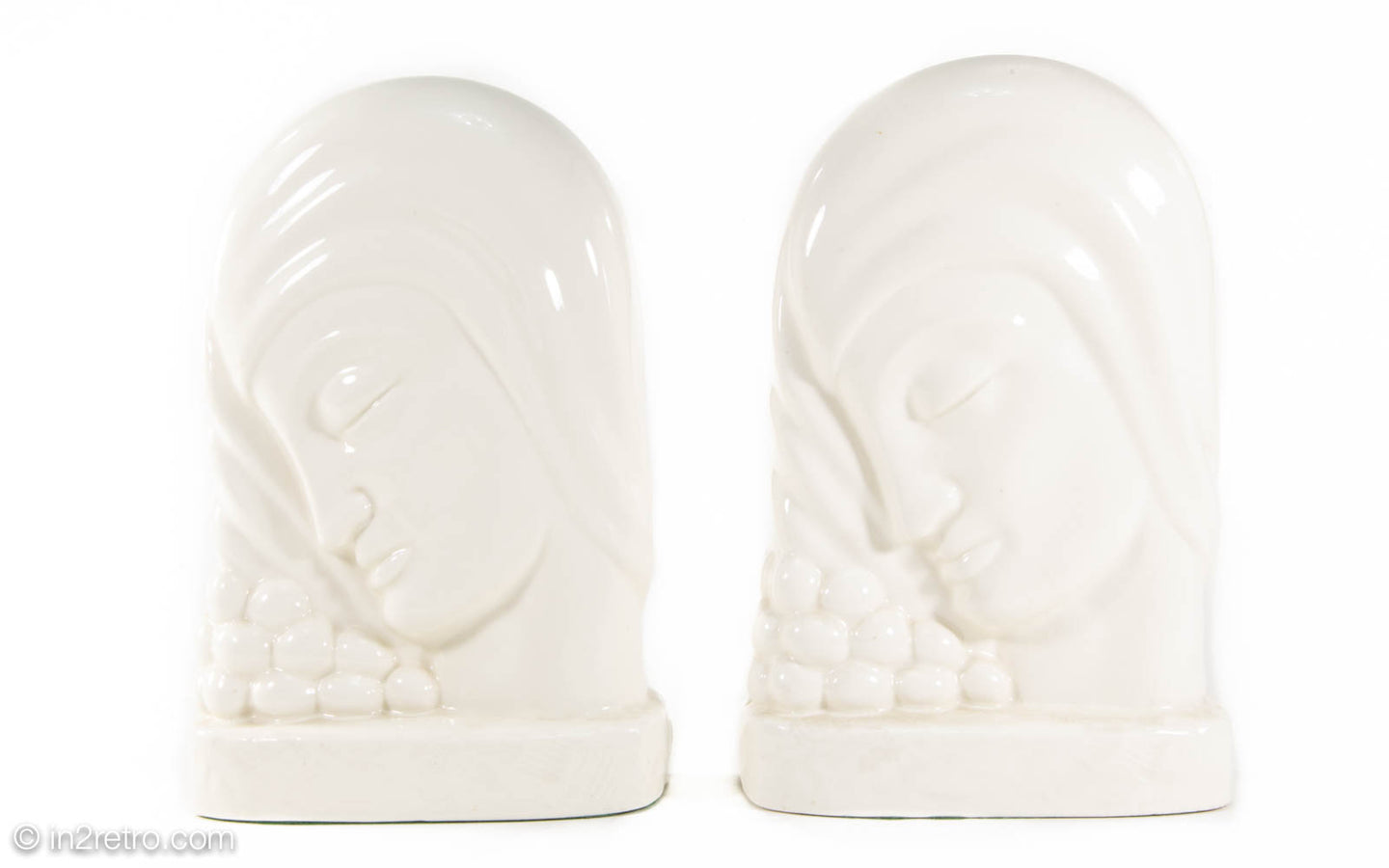 KENT ART WARE WHITE CERAMIC ART DECO FEMALE PROFILE WEIGHTED BOOKENDS JAPAN