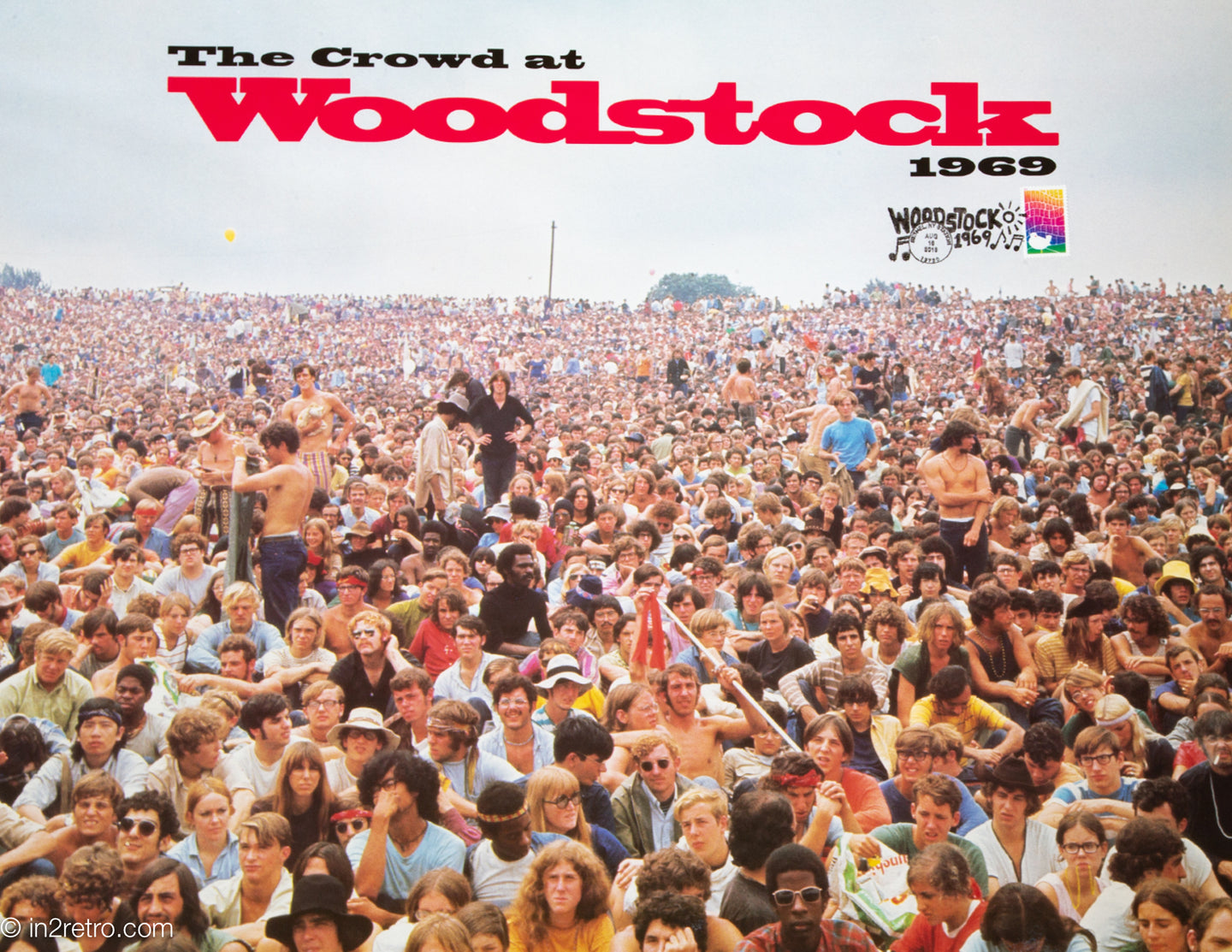 RARE WOODSTOCK 50TH 'THE CROWD' POSTER & US POSTAGE STAMP FROM BETHEL, NY POST OFFICE SHELLY RUSTEN