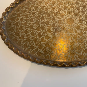 Grand Moroccan Brass Tray with Scallop Edge
