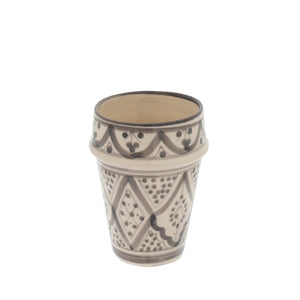 Moroccan Pattern Clay Cup - Gray & White