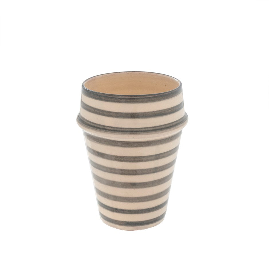 Moroccan Stripe Clay Cup - Gray & White