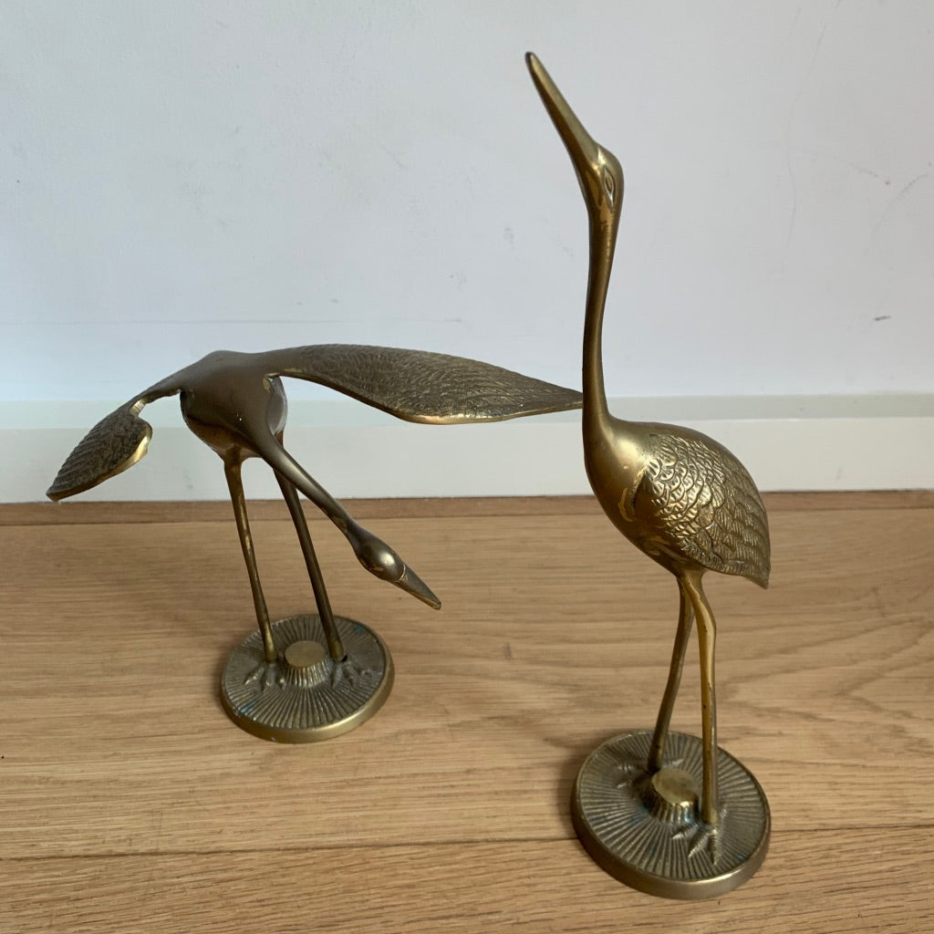 Pair of Brass Crane Figurines