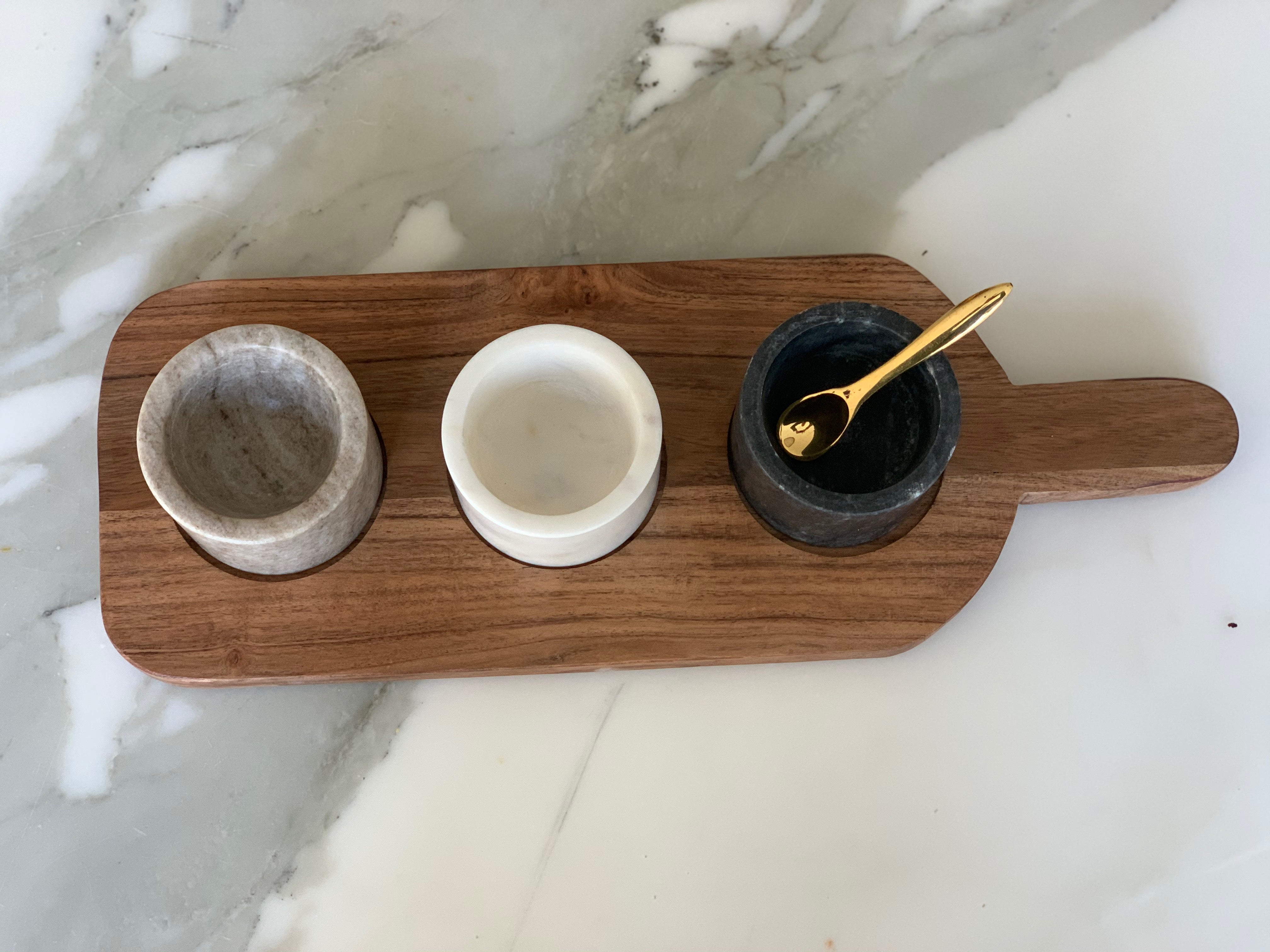 Acacia Wood Board with 3 Marble Pinch Pots