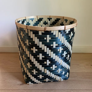 Diagonal Stripe Bamboo Basket