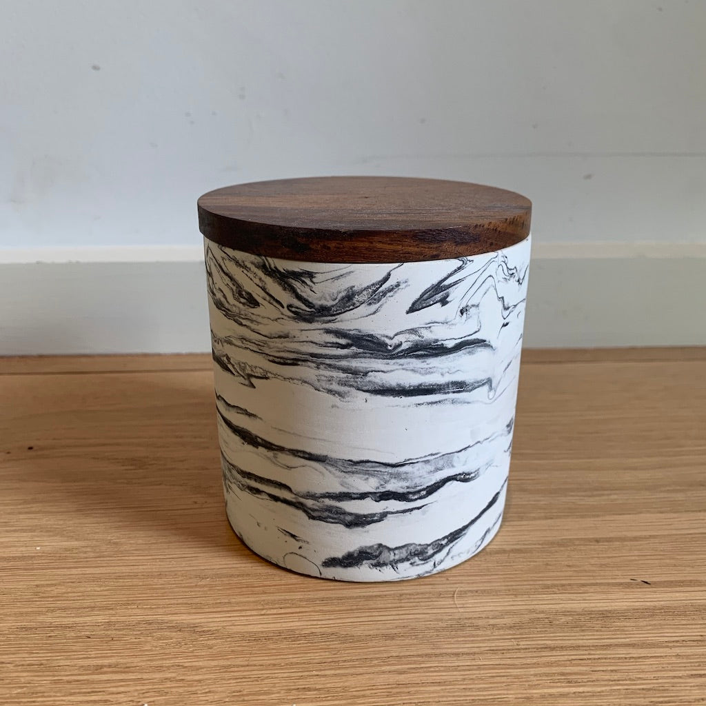 Marble Pattern Cement Container with Wood Lid