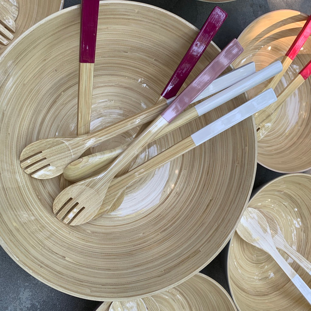 Large Bamboo Serving Set - Available in Six Colors