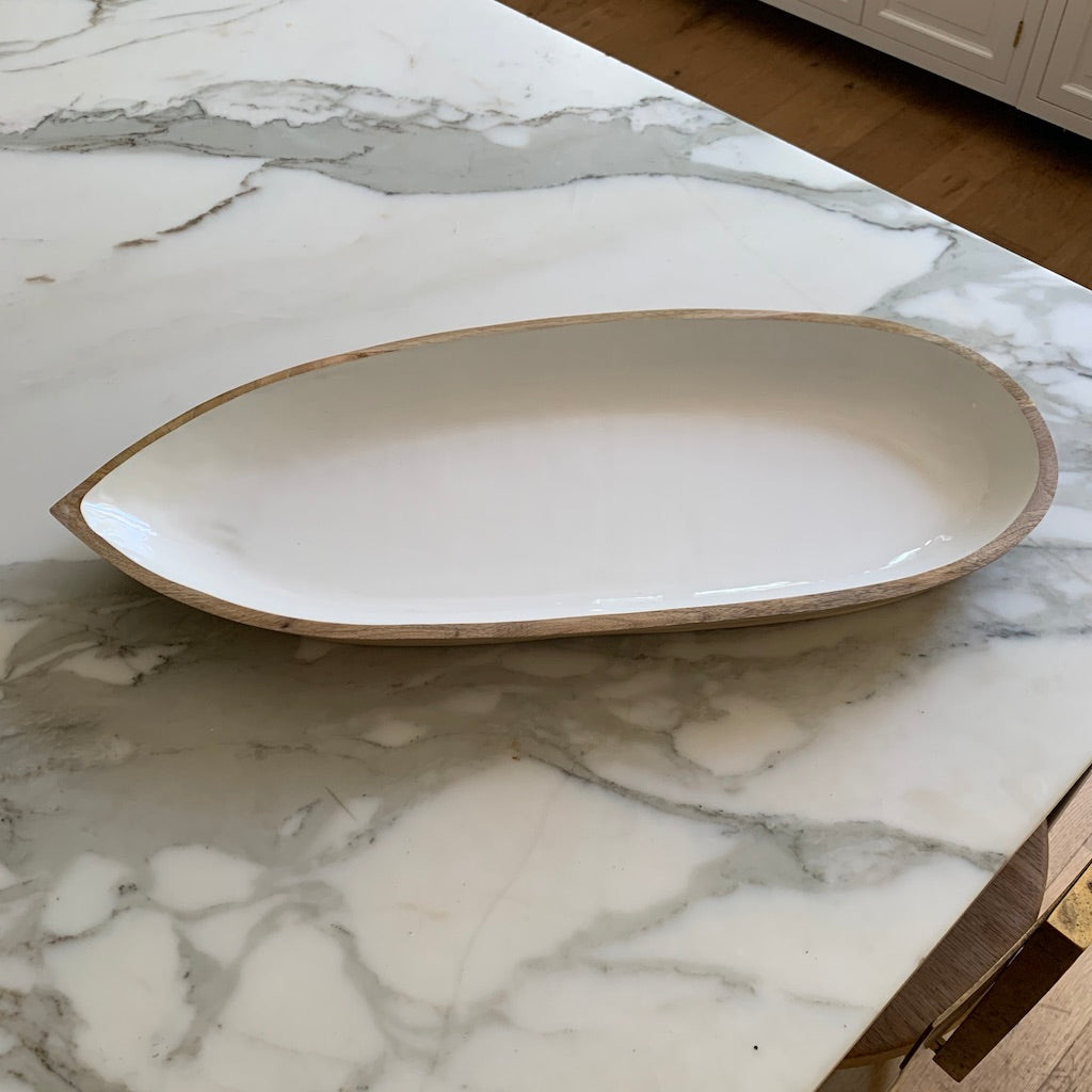 Mango Wood & White Enamel Oval Serving Dish