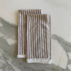 Taupe and White Stripe Cotton Napkin