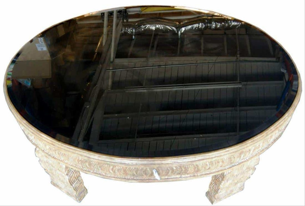 Oval Carved Wood & Black Glass Insert
