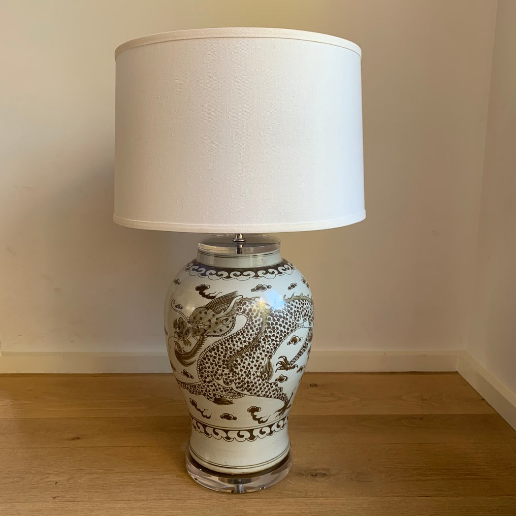 Brown & White Dragon Jar Lamp