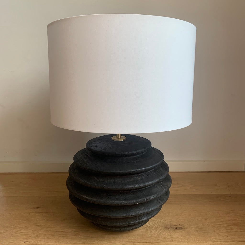 Wood Acordian Lamp - Black
