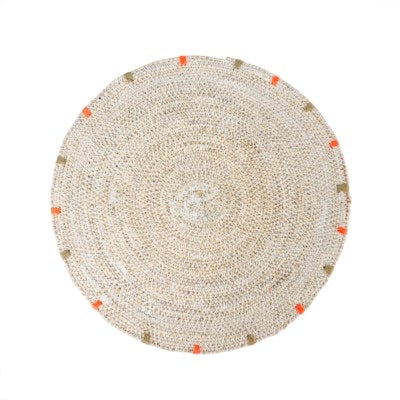 White Washed Rattan Placemat with Stich Edge Detail