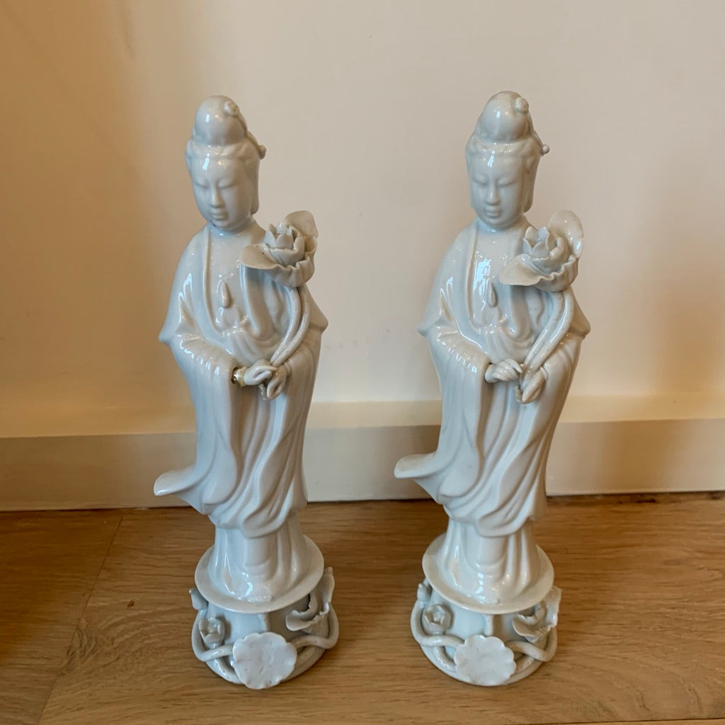 Pair of Blanc De Chin Chinese Figural Sculptures