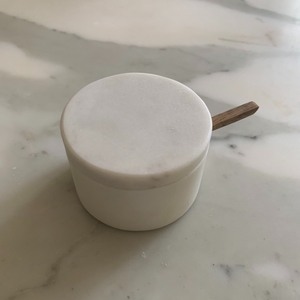 White Marble Lidded Cellar with Wood Spoon