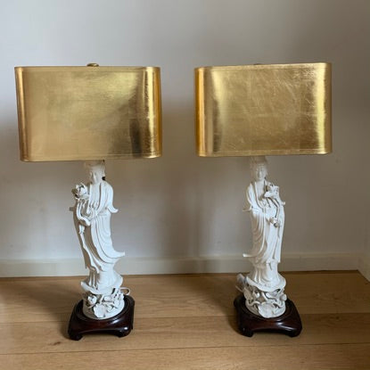 Pair of Chinese De Blanc Yin Lamps