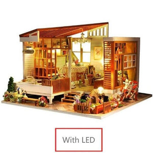 MINI DIY Doll House and dolls Wooden Doll Houses Miniature Dollhouse Furniture Kit with LED Toys for children Christmas Gift - Kawaii-Crafts.com