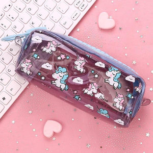 Kawaii Unicorn Zipper Pencil Case Canvas Bag