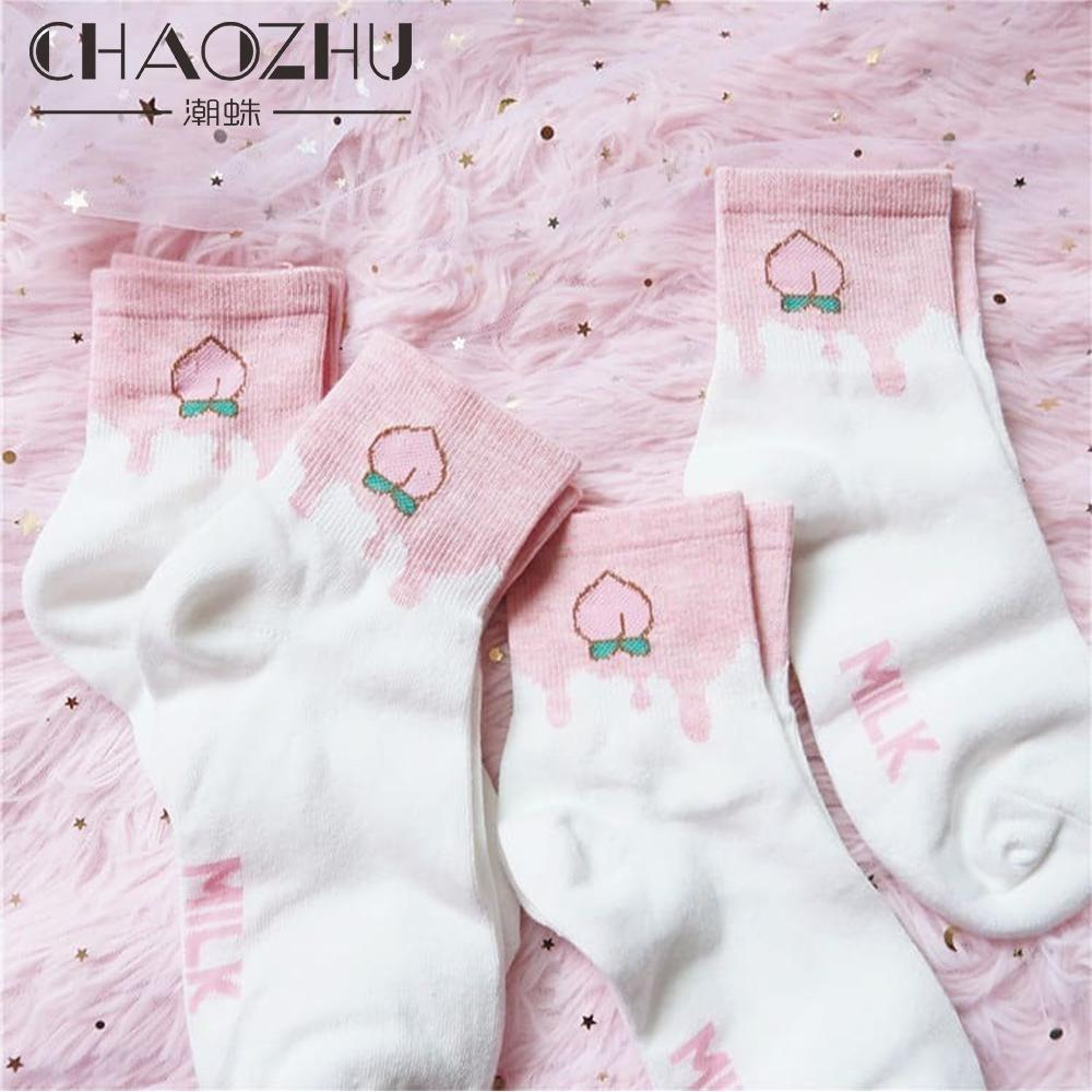 Pink and White Peach Socks