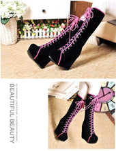Load image into Gallery viewer, Platform Heels Lace Up Boots