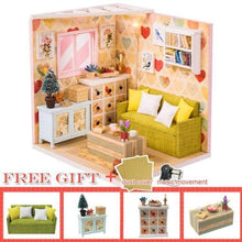 Load image into Gallery viewer, Cutebee Doll House Furniture Miniature Dollhouse DIY Miniature House Room Casa Toys for Children DIY Dollhouse M11F - Kawaii-Crafts.com