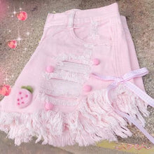 Load image into Gallery viewer, Kawaii Pink Summer Denim Shorts