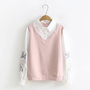 Cotton Embroidered Sleeves Top