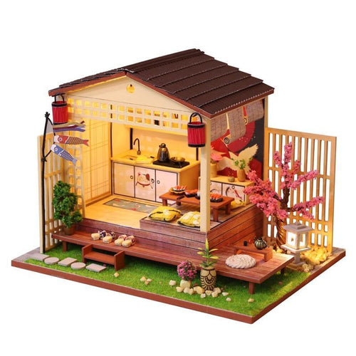 Miniature Japanese Style Dollhouse Tatami Furniture Cherry Blossoms Kit Wooden Puzzle DIY Dolls House LED Lights Christmas Gift - Kawaii-Crafts.com