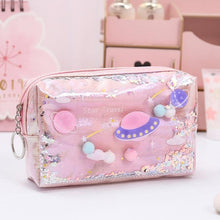 Load image into Gallery viewer, Large Pink Pencil Case / Makeup Bag