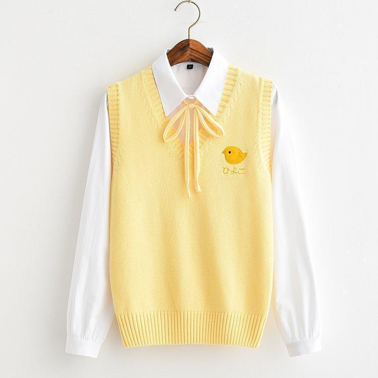 Yellow Sweater Vest with Chick Embroidery