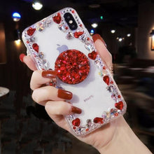 Load image into Gallery viewer, Transparent Glitter Bling Phone Case with Holder Stand for iPhone