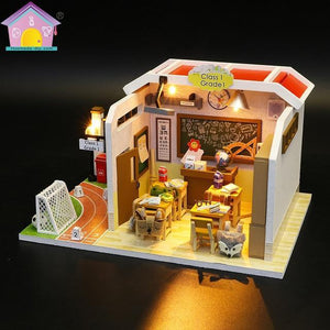 M907 Chinese classroom Miniatura Wooden Doll House Furniture Dollhouse Miniature Accessories Puzzle Toy Model Kits Toys Gift - Kawaii-Crafts.com