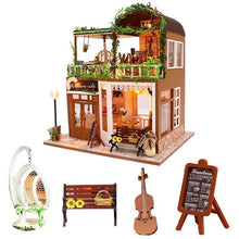 Load image into Gallery viewer, diy cafe wooden doll house casa juguete cello miniature dollhouse  kast furniture kit kids home toys juguetes para los ni os - Kawaii-Crafts.com
