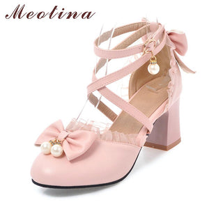 Pink Lolita Shoes with Bows and Pearls