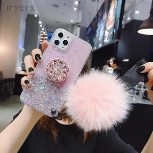 Glitter Phone Case with Holder Stand and Pink Poof for iPhone