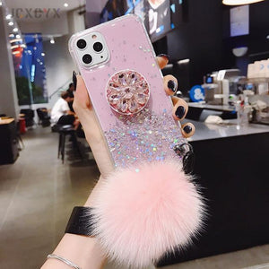 Glitter Phone Case with Holder Stand and Pink Poof